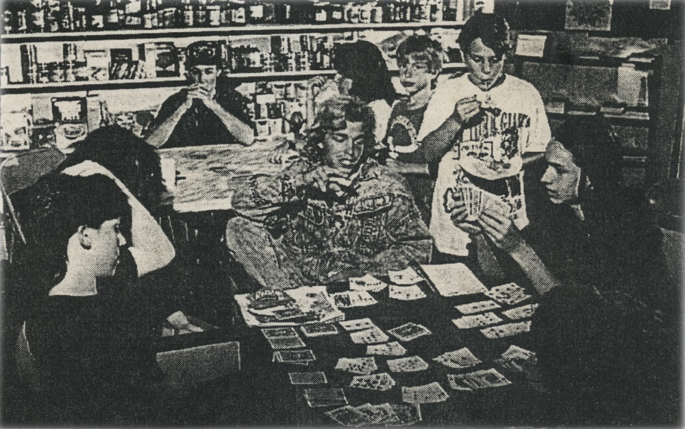 Farm Kids: The store is the meeting place for, clockwise: Danny Dwyer, Mark Schoenbrun, Rebecca Maligno, Ramone Bloomfield, Lee Skinner, Abner Holsinger, and Kevin Tinkey, center
