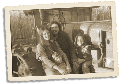 Their family in the early years at The Farm. -- Submitted