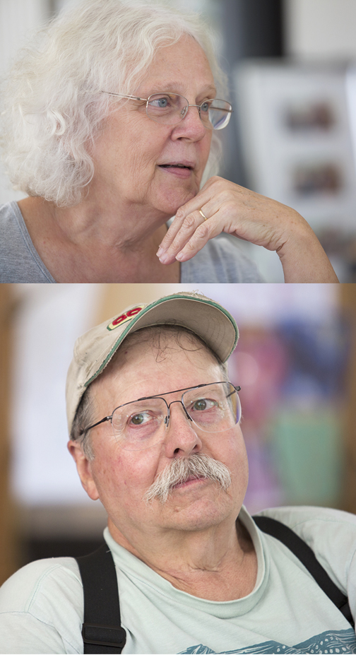 Judith Dodge, 70, and James Dodge, 69, talk about life on The Farm, both then and now. -- Michelle Morrow | The Ledger